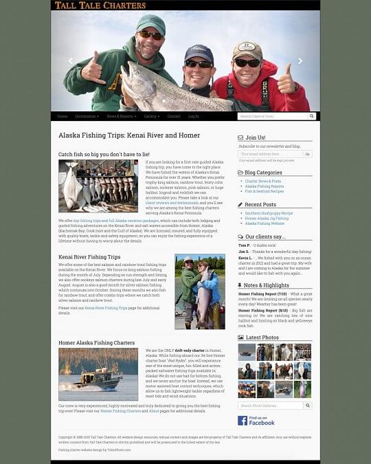 Alaska fishing website designs
